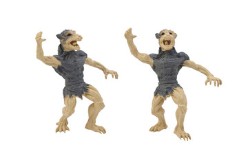 Isolated werewolf toy photo. Isolated werewolf side and angle view toy photo.