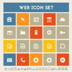 Web icon set. Multicolored square flat buttons