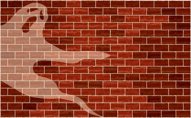 Flying ghost against a mottled brick wall background