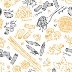 Vector hand drawn pasta pattern. Vintage line art illustration.