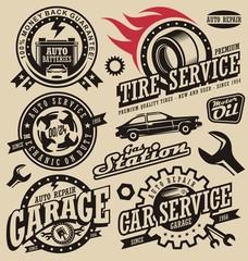 Vintage style car and transport labels and badges set