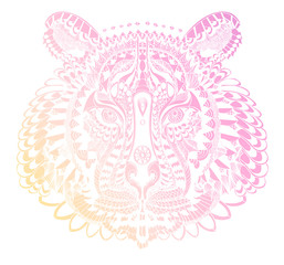 Stylized pink and yellow tiger portrait on white background.