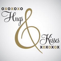 Elegant typographic 'Hugs & Kisses' card in vector format.