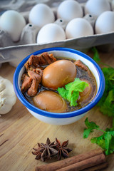 Eggs and pork in brown sauce,Thai Cuisine , Boiled eggs with chi