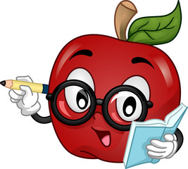 Mascot Apple Eyeglasses Writing and Teaching