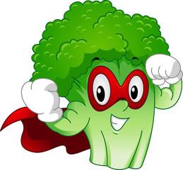 Strong Mascot Broccoli Superhero