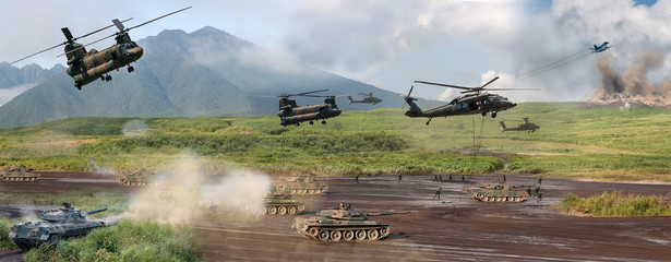Modern military battle scene with tanks, helicopters and infantr