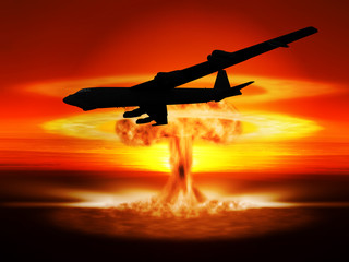Nuclear explosion and bomber