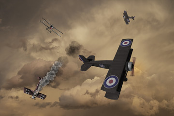 World War One Aircraft in a dogfight