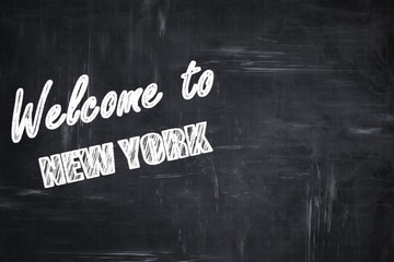 Chalkboard background with chalk letters: Welcome to new york