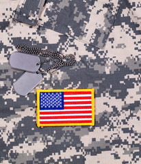 USA Flag patch and ID tags with battle dress uniform