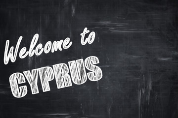 Chalkboard background with chalk letters: Welcome to cyprus