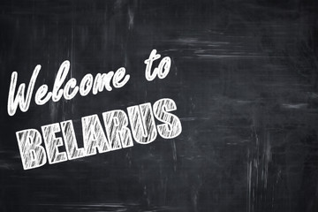 Chalkboard background with chalk letters: Welcome to belarus