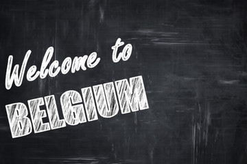Chalkboard background with chalk letters: Welcome to belgium