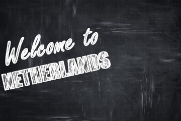Chalkboard background with chalk letters: Welcome to netherlands