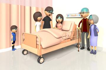 入院している少女とお見舞いする家族