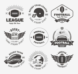 Rugby logo vector set, Football badge logo template