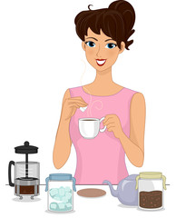 Girl Making Brewed Coffee