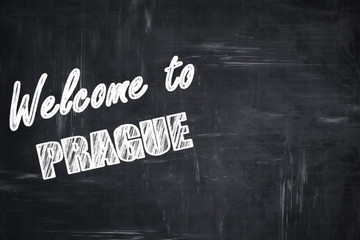 Chalkboard background with chalk letters: Welcome to prague