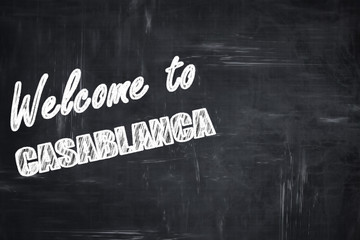 Chalkboard background with chalk letters: Welcome to casblanca