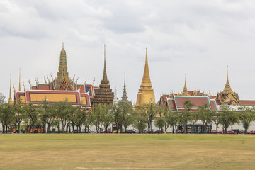 Temple of the Emerald Buddha(Wat Phra Kaew) with blue sky Bangko
