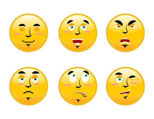 Set of emoticons on white background. Cartoon facial emotions. S