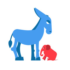 Big Blue Donkey and little red elephant symbols of political par