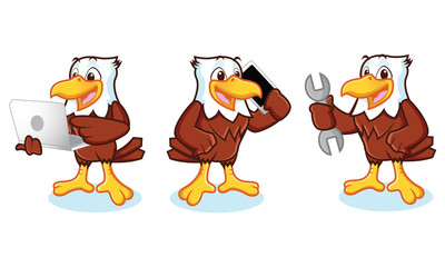 Eagle Mascot Vector with phone