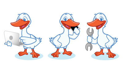 Goose Mascot Vector with phone
