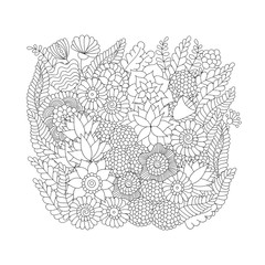 Doodle flower pattern black and white isolated on white background. Vector decorative element for design of cards, invitations, banners
