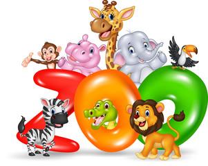 Word zoo with cartoon wild animal africa