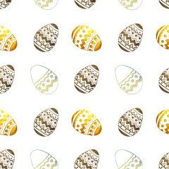 Seamless pattern with golden, blue and black pearly Easter eggs on white background