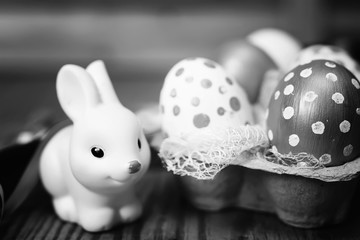 Monochrome eggs and bunny