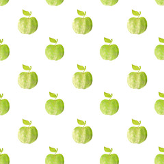 Seamless pattern with green hand-drawn apples on white background