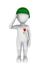 3d soldier salutes.