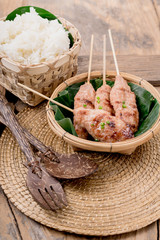 grilled pork with sweet spicy sauce and sticky rice
