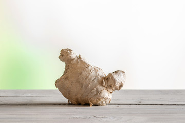 Ginger root on a wooden table