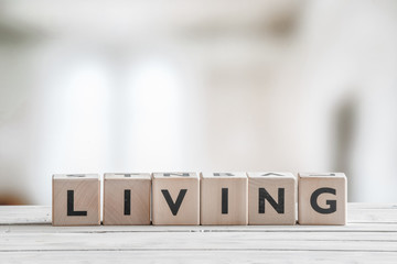 Cubes with the word living