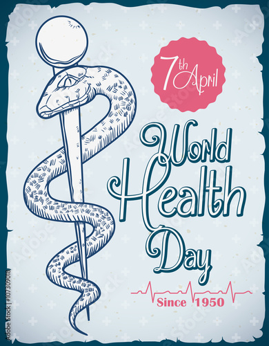 World Health Day Commemorative Retro Poster Vector Illustration