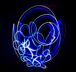 Abstract slow speed light painting. Freeze Light.