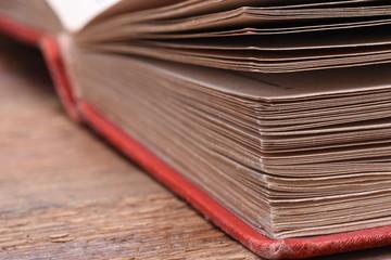 Open book closeup with selective focus