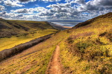 Fototapete - Path to Sandymouth coast North Cornwall England UK in colourful HDR