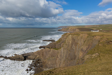 Fototapete - North Cornwall coast towards Northcott Mouth from south west coast path England UK