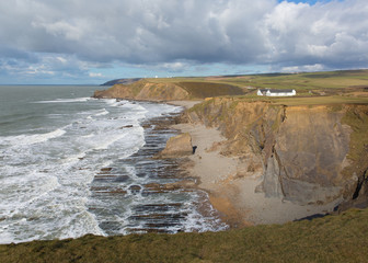 Fototapete - Northcott Mouth beach north of Bude North Cornwall England UK