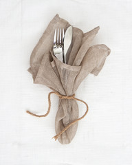 Knife and fork table setting