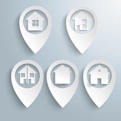5 Location Markers Houses Set
