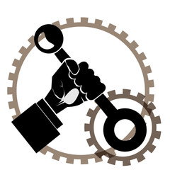 Modern outline hand with lever and gears vector image. Can be us