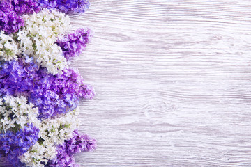 Lilac Flower On Wood Background Blooms Pink Flowers Left Side