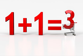 Concept of buy two - get on free. Big red sign of 1+1=3 in shopp