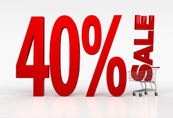Big red text of 40 percent off discount in shopping cart over wh